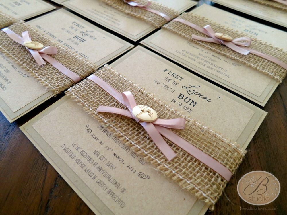 Rustic Love Burlap Country babies and Baby invitations