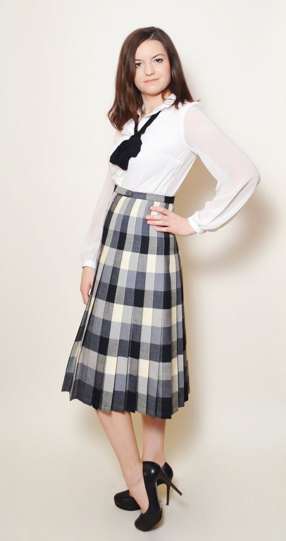 Plaid Skirt High Waisted Vintage Skirt Elegant by SixVintageChicks