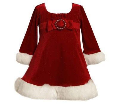 Bonnie Jean Christmas Outfits.Baby Girls Red Santa Christmas Dress By Bonnie Jean Sizes 0