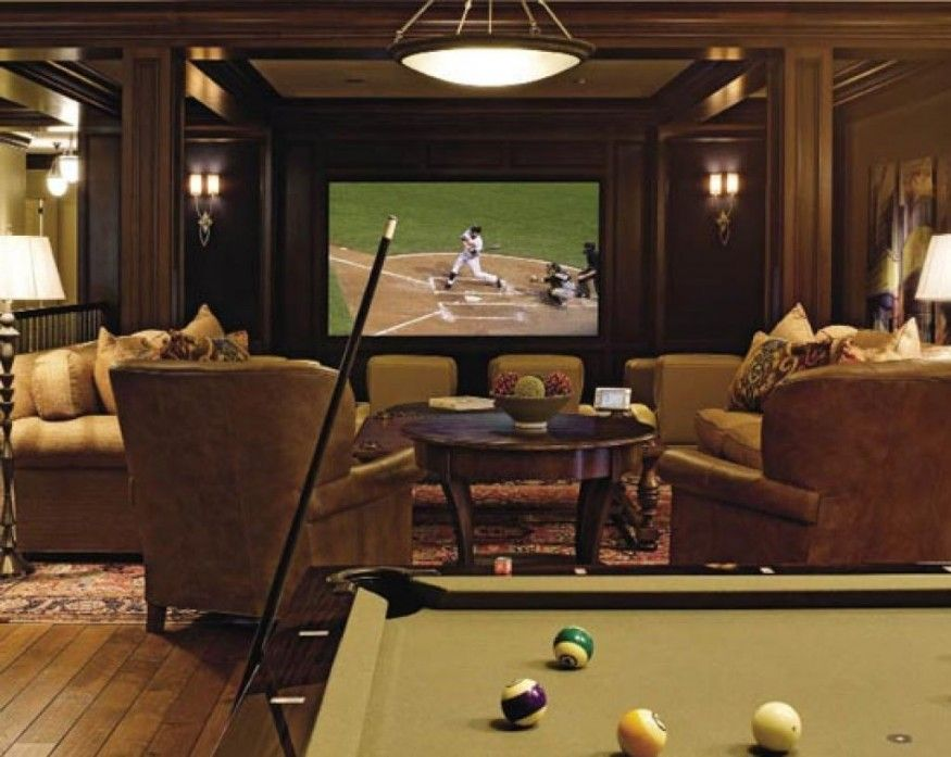 Home Ater Room With Pool Table And Green Seats Home Theater Rooms Home Theater Seating Home Theater Design