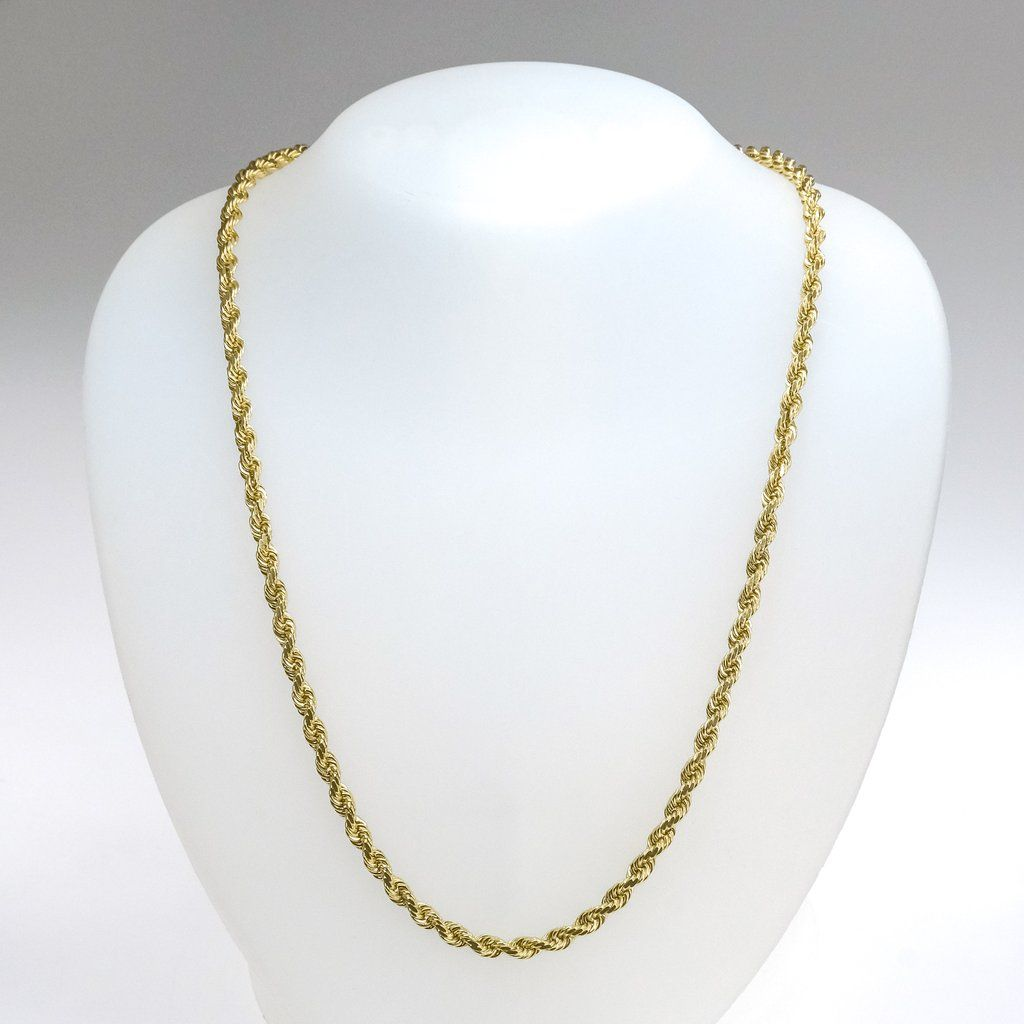 4 5mm Wide Rope Link 26 Chain In 10k Yellow Gold 42 Grams Gold Rope Chains Gold Chains Gemstones