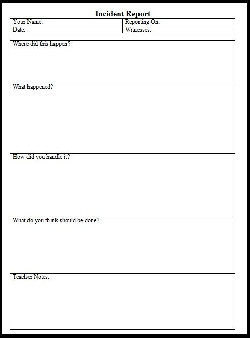 incident report form child care Incident Form – Free Printable Incident Reports