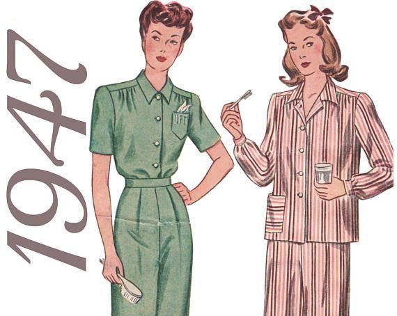 Plus Size Vintage Plus Size Pajamas 1940s Sewing Pattern 1940s