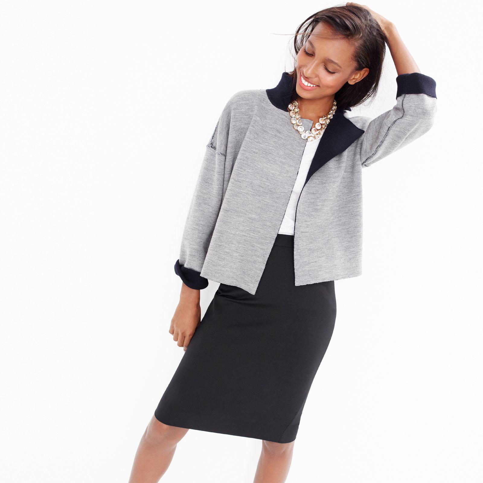 J.Crew Looks We Love: women's reversible sweater-jacket, tissue T-
