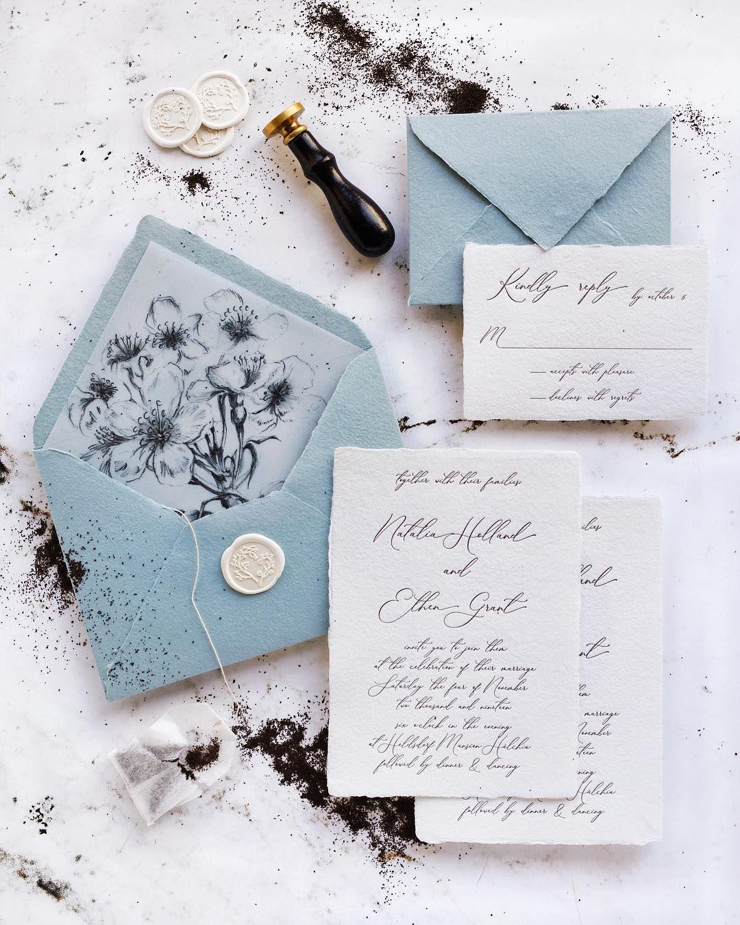 Blue Handmade Paper Letterpress Wedding Suite With Vellum Liner Wedding Ceremony Invitations Fun Wedding Invitations Letterpress Wedding