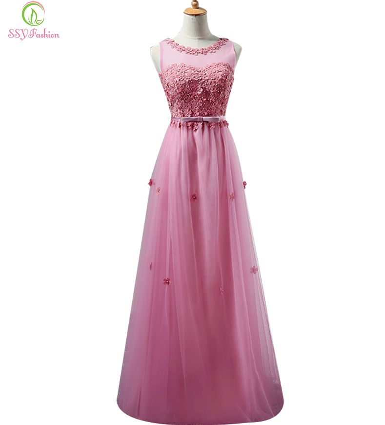Sweet Lace Flower Long Bridesmaid Dresses Plus Size Floor-length ...