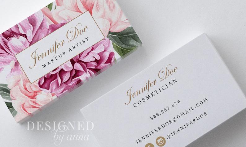 Floral Business Card Design Printable Business Card Template Etsy In 2021 Business Card Design Modern Business Cards Printable Business Cards