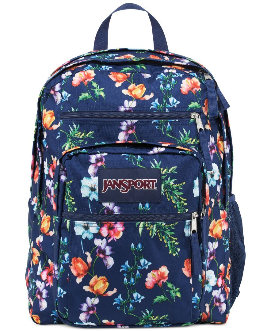 Jansport Big Student Backpack In Multi Navy Mountain Meadow Love