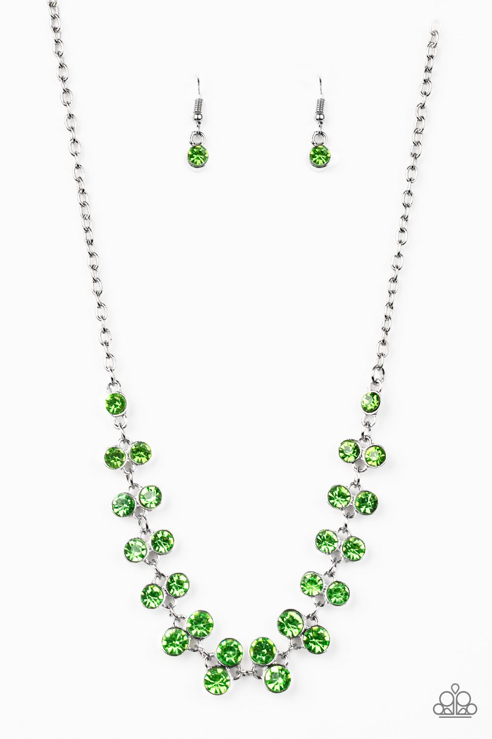 PAPARAZZI SUPER STARSTRUCK GREEN RHINESTONE BELOW THE COLOR NECKLACE EARRING