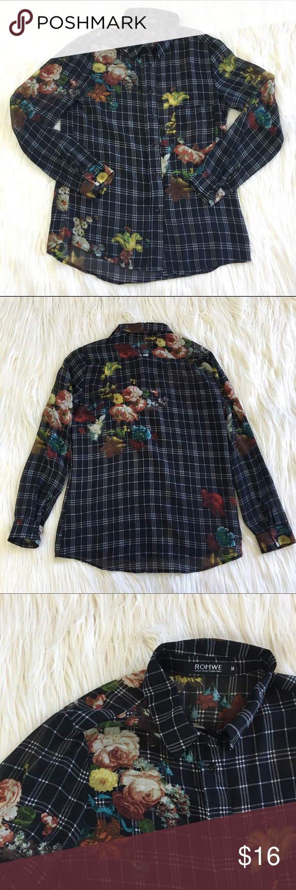 "Floral and Plaid Shirt Such a unique design! Flowed on top of a plaid button down shirt. Slightly sheer. Great as a cardigan on top of a black dress or top. Measures 18"" underarm to underarm and 25"" in length. Good used condition. This is a reposh that I didn't wear often enough. I figured someone else could get more use out of it! It's so darn cute I just have too many clothes!  ROMWE Tops Button Down Shirts"