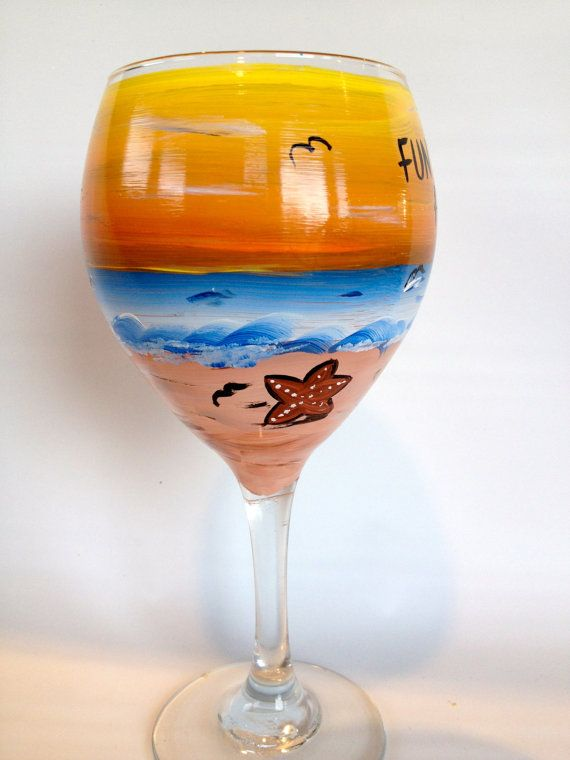 Painted Wine Glass Sunset And Beach Themed Great For Beach Wedding