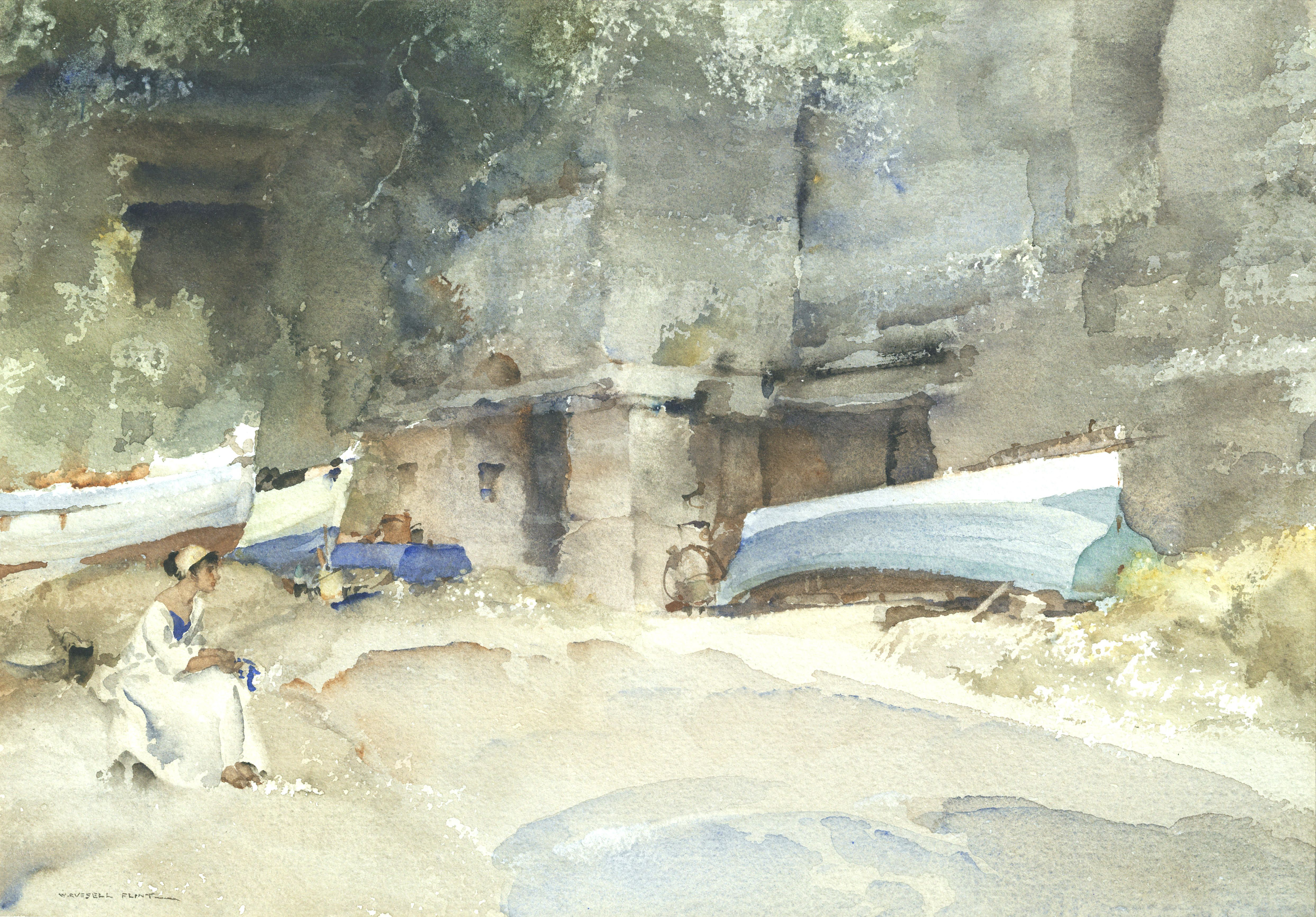 Sir William Russell Flint Watercolor Canvas William Russell