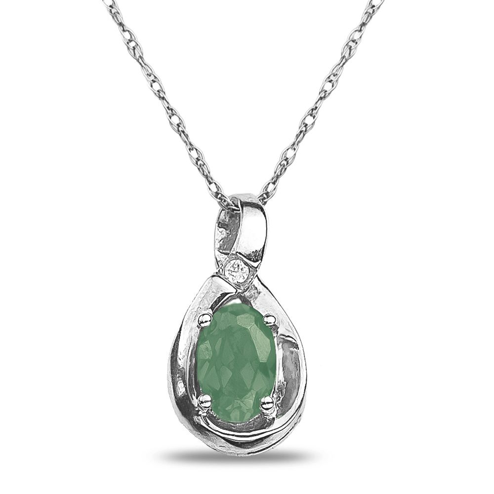 Details about Diamond Accent Green Amethyst Necklace Pendant in 10K