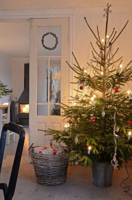 Real Christmas tree, basket full of pressies with cosy glow of fire