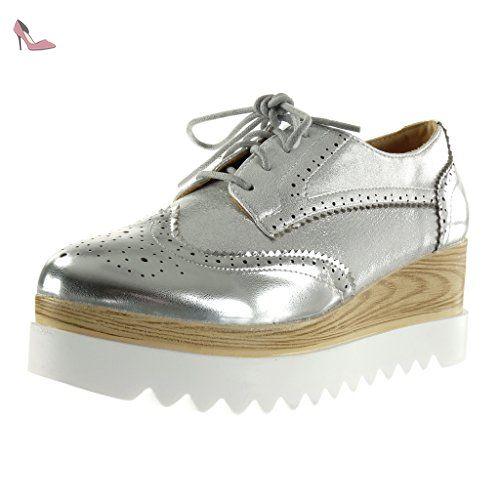e1751248f3efe0 Angkorly - Chaussure Mode Derbies semelle basket plateforme femme brillant  perforée Talon compensé plateforme 6.5 CM