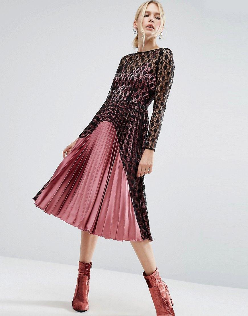 I 4 18 25 As0 Plisowana Sukienka Koronka 34 7196024123 Oficjalne Archiwum Allegro Womens Dresses Pleated Midi Dress Maxi Dress Prom