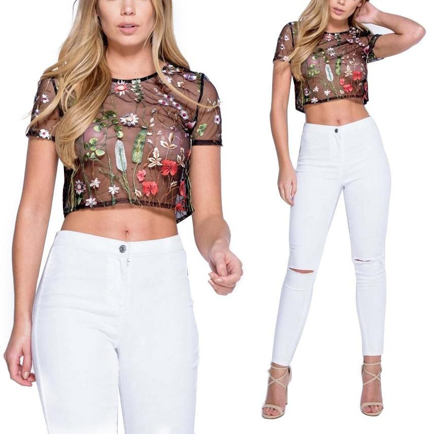 2292b259a5b Womens Floral Mesh Sheer Embroidered Floral See-through Crop Tops T Shirt  Blouse