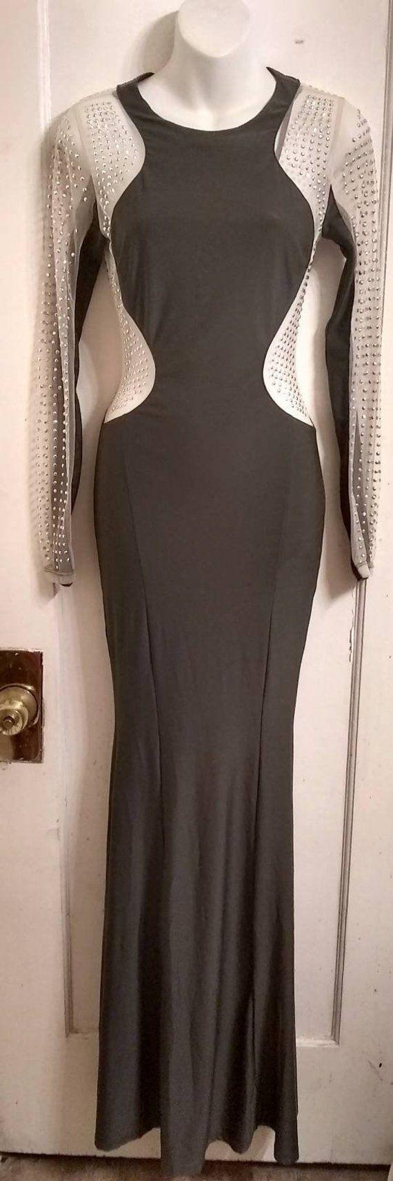 Vintage us formal gown nineties prom dress grey body con floor