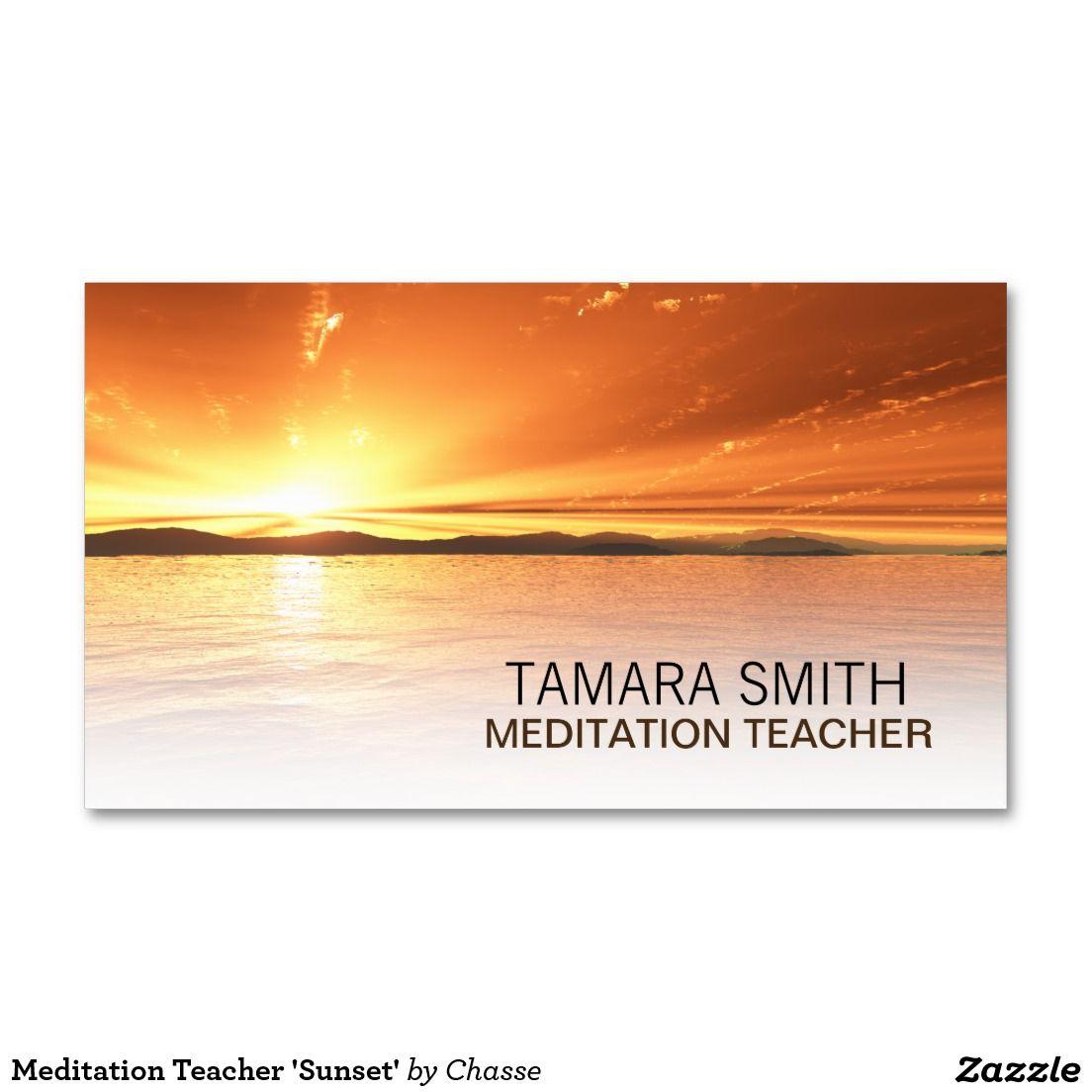 Meditation Teacher \'Sunset\' Business Card | Business cards and Business