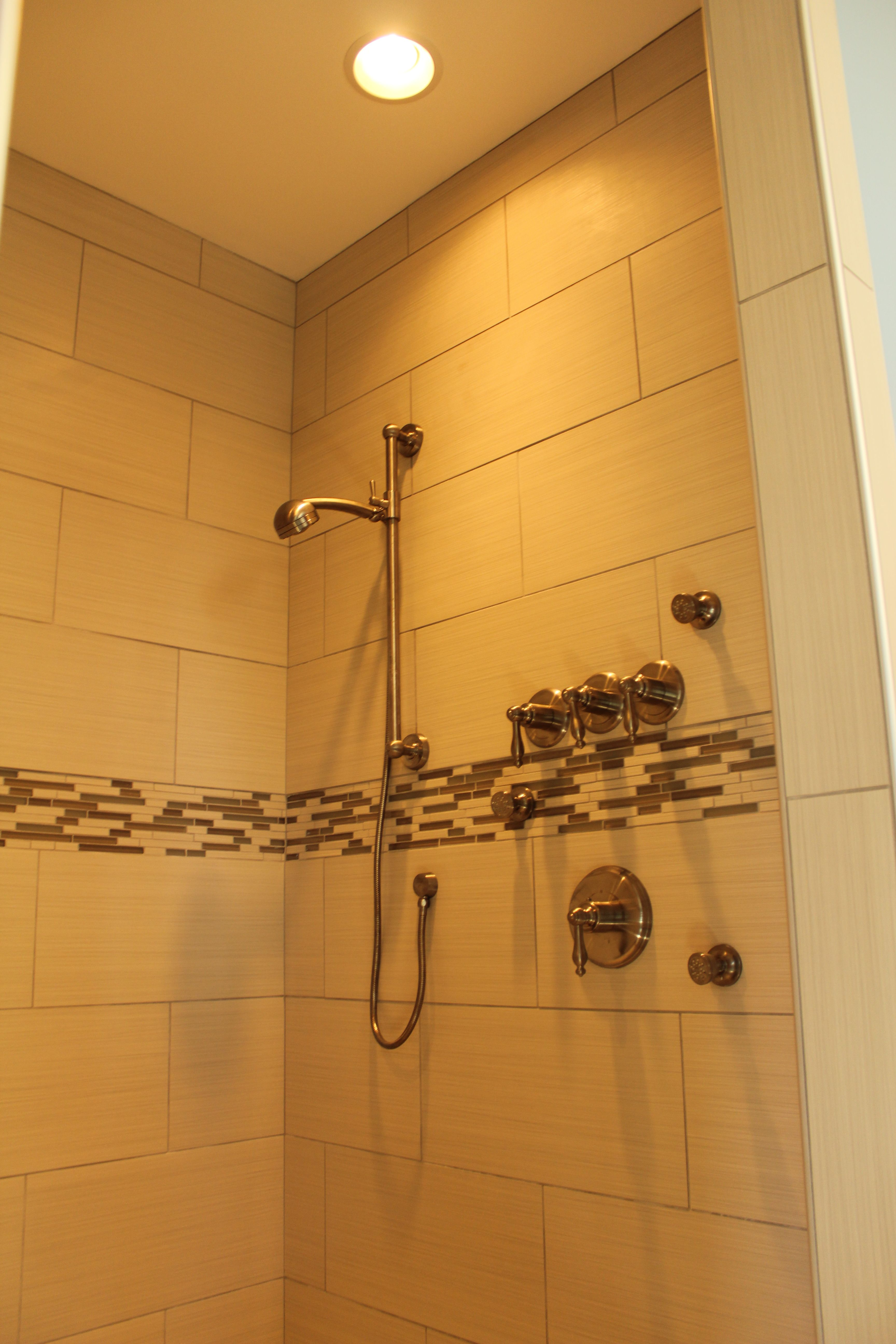 Master Bath Shower Tile Marme Walls Bamboo Oyster Porcelain Accent