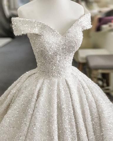 Photo of 2020 Princess Off shoulder Glitter Wedding Dresses Ball Gowns