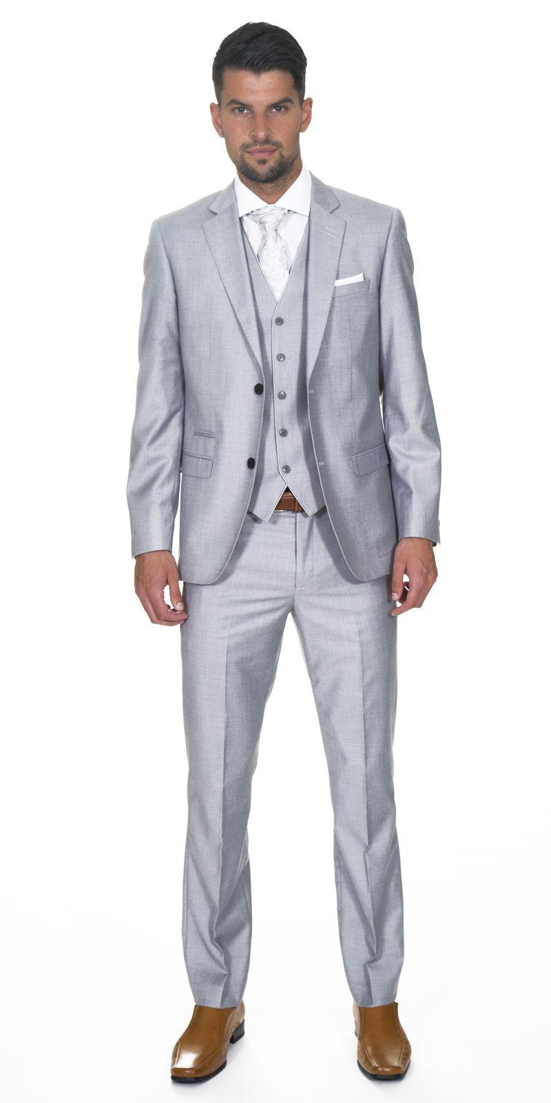 Light Grey Suit White Tie Matching Dahlia Pocket Square Brown
