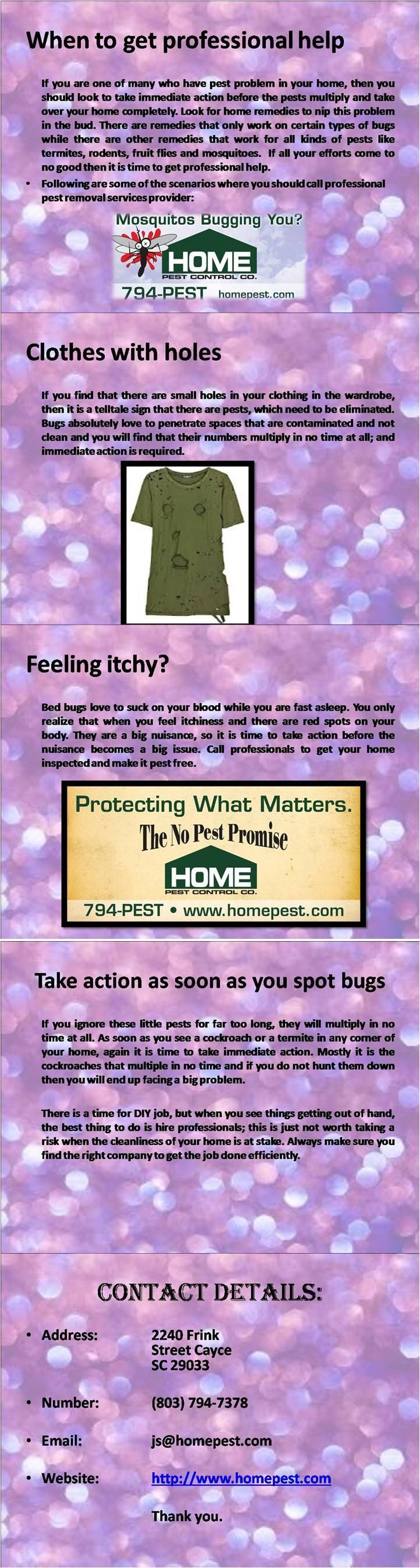 A DIY job can only work for a little while, but if you want to get rid of the pests for a long time then you need to hire professionals. For more information visit http://www.homepest.com/