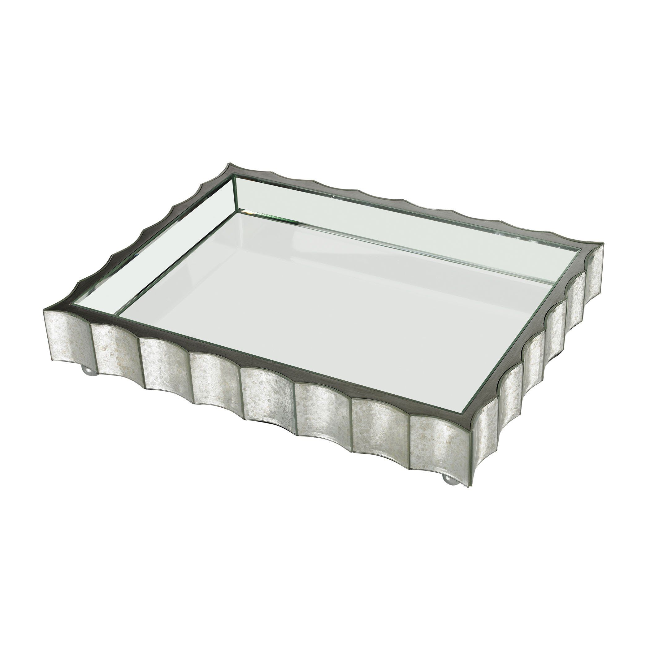 White Decorative Tray Captivating Large Scalloped Edge Mirror Tray  Mirror Tray Trays And Products Decorating Inspiration
