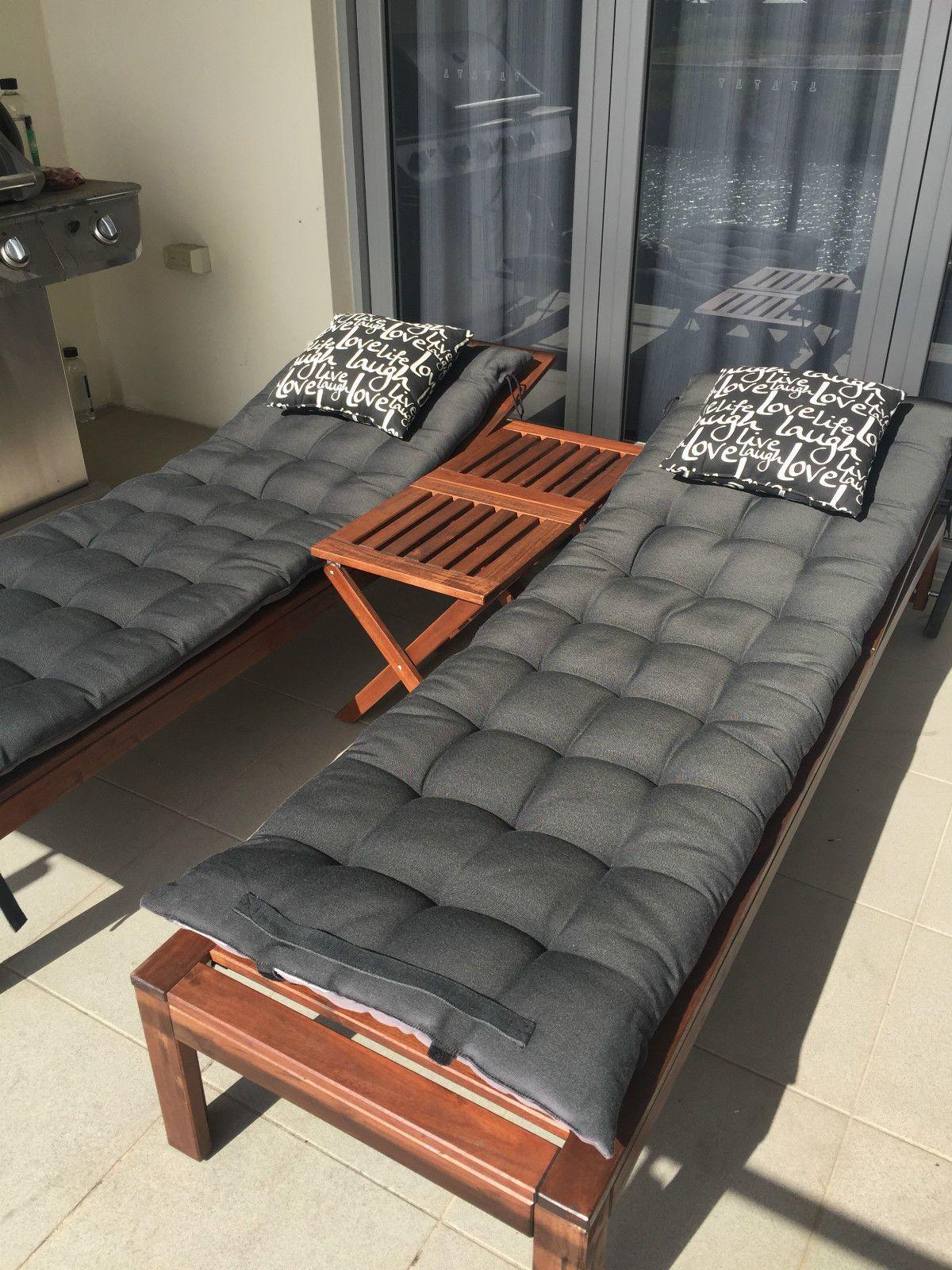 ikea set of 2 applaro acacia wood sun loungers incl bonus cushions