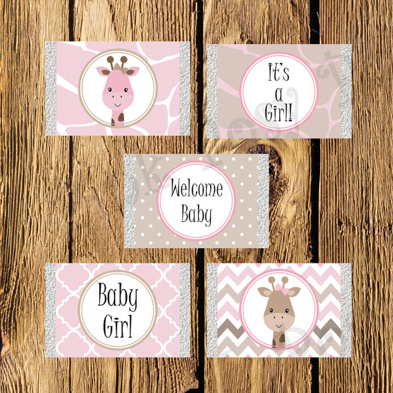 Printable Pink Giraffe Girl Baby Shower Mini Candy Bar Wrappers - Instant Download