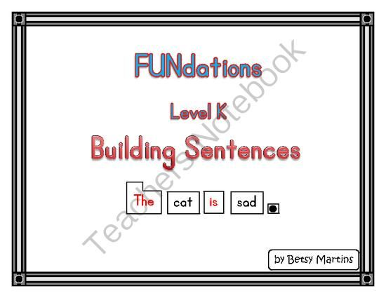FUNdations Level K Building Sentences From The Specialty