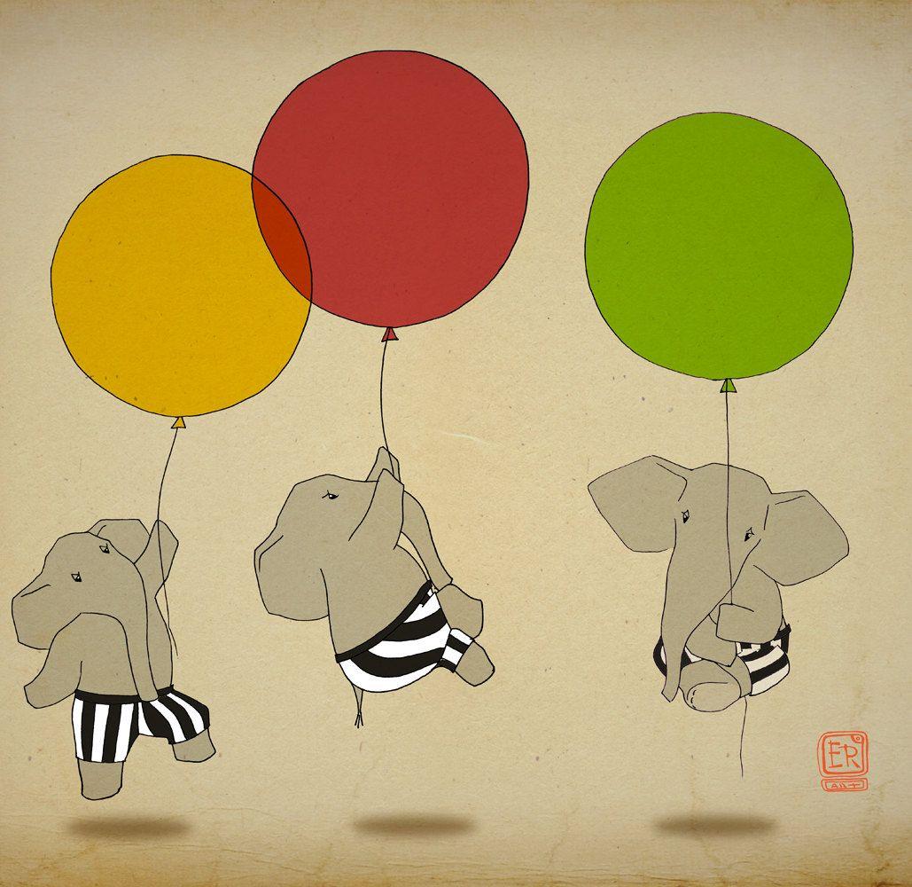 Elephant balloon Art Print 16x23 illustration - nursery wall art ...