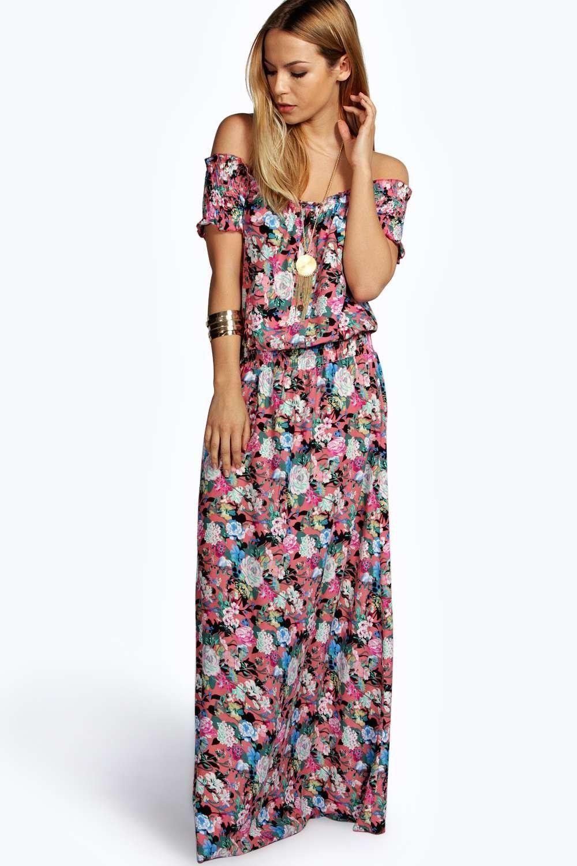 fffd44f9a0 Bea Woven Floral Off The Shoulder Maxi Dress