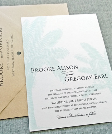 Pretty palm tree inspired invitation - would be perfect for a destination wedding!