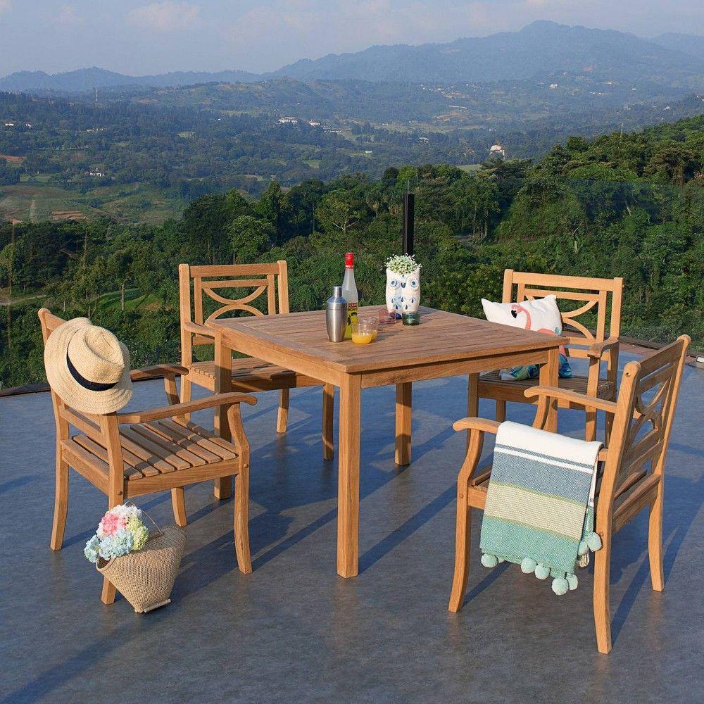 Bardin 5pc Square Table Outdoor Patio Dining Set Teak