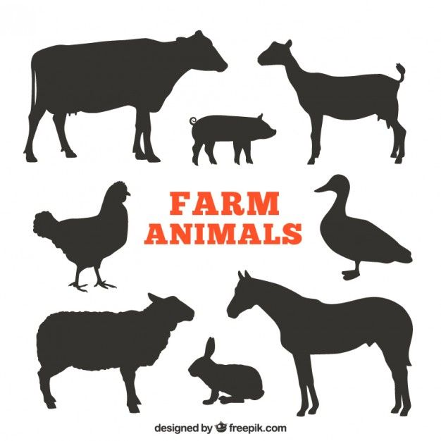 Silhouettes d 39 animaux de ferme graphisme pinterest - Image d animaux gratuit ...