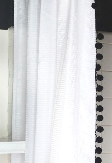 White Cotton Waffle Weave Shower Curtain With Black Pom Poms 72