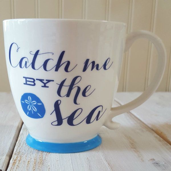Ciao Catch Me By The Sea Coffee Mug Tea 16 Oz Nautical Cup Cute Sand Dollar