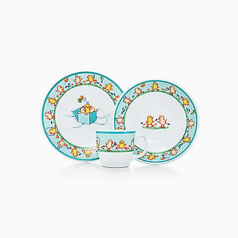 Tiffany chicks three piece baby set in ironstone ceramic shop designer baby gifts from tiffany co for gifts in sterling silver earthenware and bone china negle Images