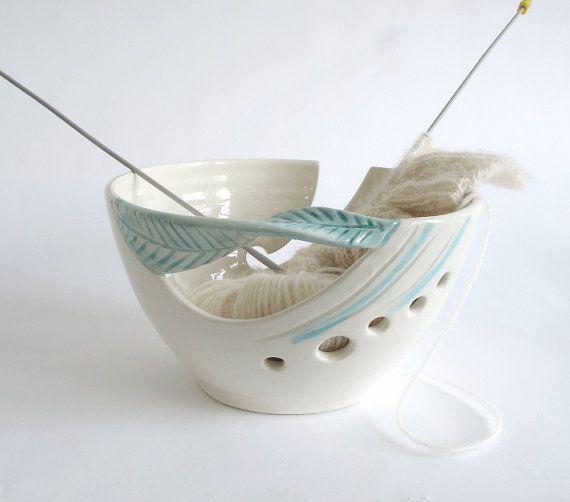 Blueroompottery Yarn Bowl Knitting bowl Crochet Bowl knitter gift DIY MADE to ORDER