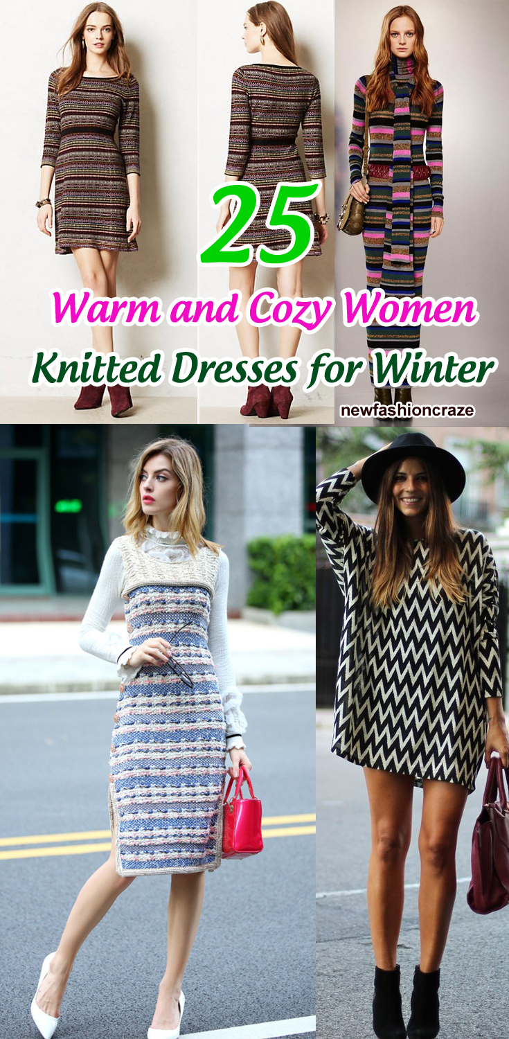 25 Warm And Cozy Women Knitted Dresses For Winter Knit Dress Winter Dresses Winter 2018 Fashion [ 1500 x 735 Pixel ]