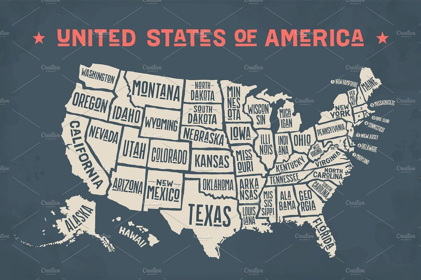 Poster Map United States Of America With State Names United States Map Usa Map Map Poster