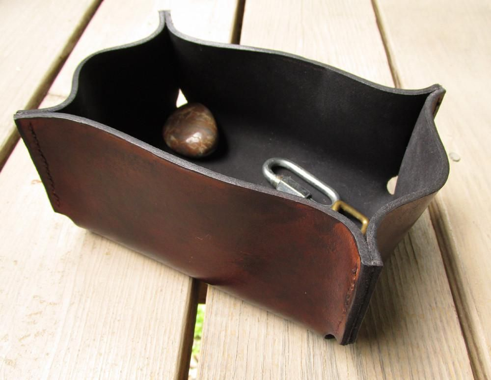 Photo of Distressed Brown Hand Sewn Leather Box
