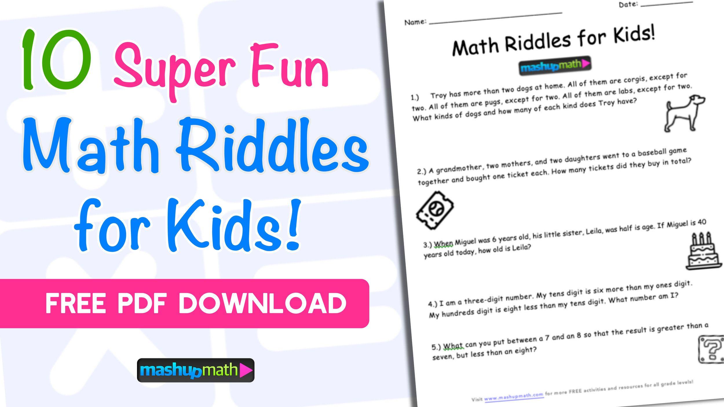 10 Super Fun Math Riddles For Kids Ages 10 With Answers Mashup Math Math Riddles Math Riddles With Answers Fun Math