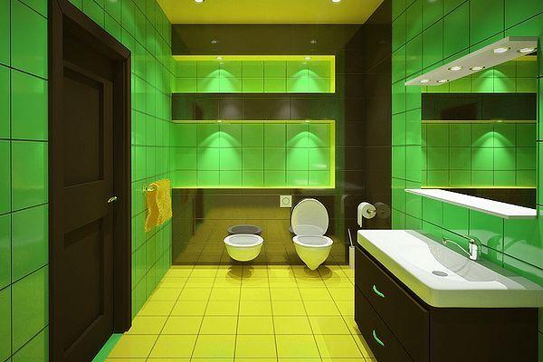Bathroom Ideas Yellow Walls Floors Or Fixtures Green Bathroom Green Bathroom Colors Green Tile Bathroom