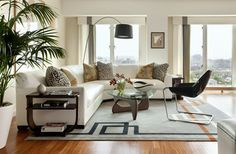 Rug Placement Sectional Couch Google Search Modern White Living Room Stylish Living Room Small Living Room Design