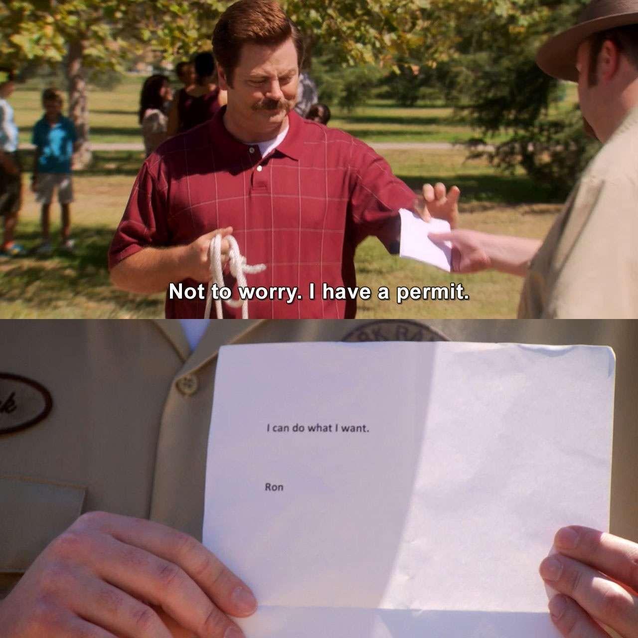 I Have A Permit Ronswanson Parksandrecreation Ms Knopegoestowashington Humor Lmao Lol Meme Mem Parks And Rec Quotes Parks And Rec Memes Parks And Recs