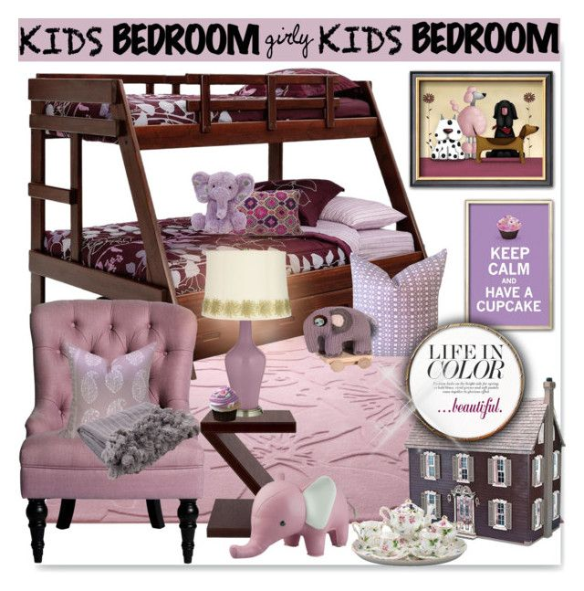 """girly~ Kids Room"" by drenise ❤ liked on Polyvore featuring interior, interiors, interior design, home, home decor, interior decorating, ESPRIT, Bunglo, Sebra and Jaipur"