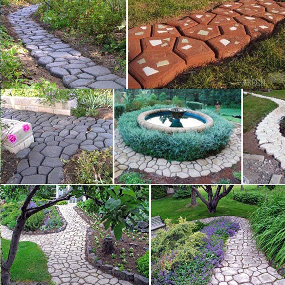Siaonvr Path Maker Mold Reusable Concrete Cement Stone Design Paver Walk Mould Walmart Com In 2020 Garden Design Stone Walkway Garden Paths