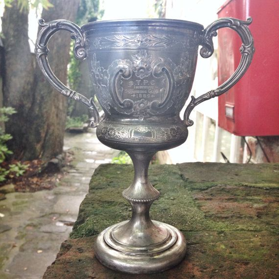Antique 1889 Silver Plate Swimming Trophy By